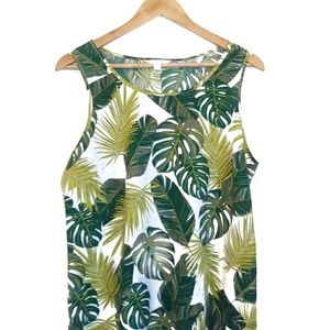 Time and Tru Tropical Banana Leaf  Flowy Tank Top